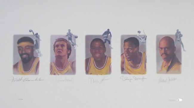 Los Angeles Lakers Legends Autographed Lithograph With 5 Signatures Including Wilt Chamberlain, West, Johnson, Baylor & Abdul-Jabbar #/1992 Beckett BAS Stock #195250