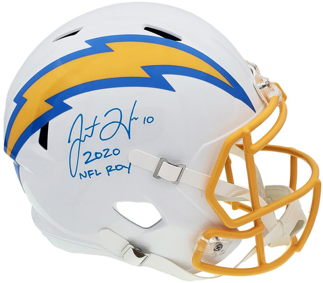 """Justin Herbert Autographed Los Angeles Chargers White Full Size Replica Speed Helmet """"2020 NFL ROY"""" Signed In Blue Beckett BAS QR Stock #196977"""