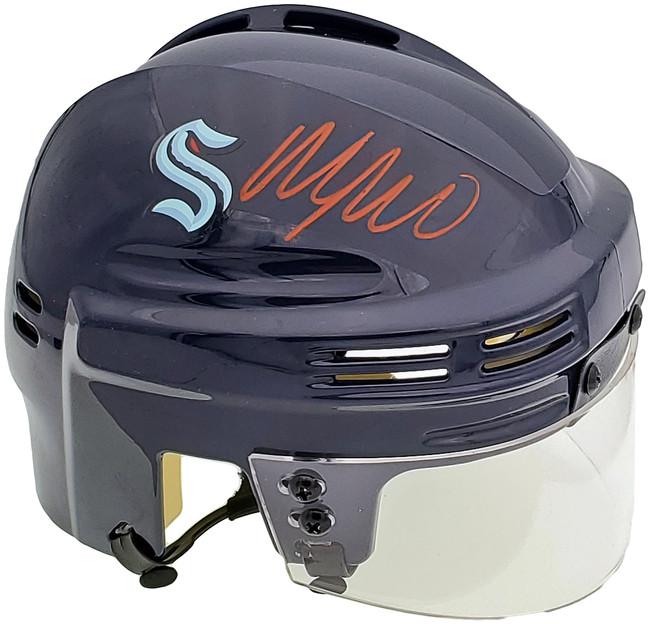 Morgan Geekie Autographed Seattle Kraken Blue Mini Helmet Fanatics Holo Stock #197085