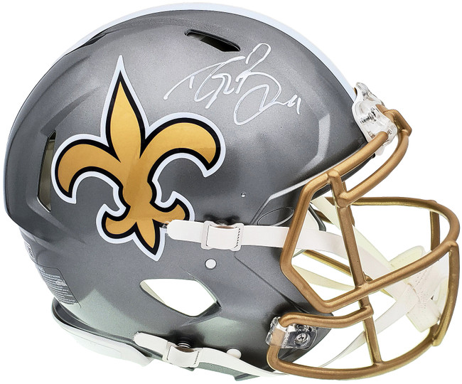 Drew Brees Autographed New Orleans Saints Flash Silver Full Size Authentic Speed Helmet Beckett BAS QR Stock #197104