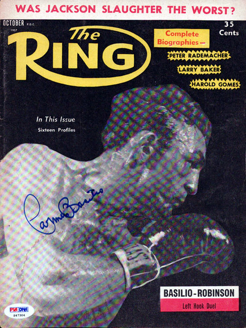 Carmen Basilio Autographed The Ring Magazine Cover PSA/DNA #S47304