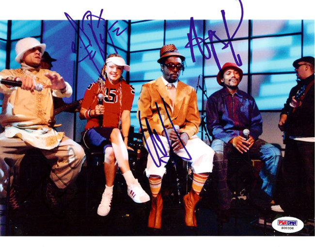 Black Eyed Peas Autographed 8x10 Photo Fergie, will.i.am, Taboo & apl.de.ap PSA/DNA #S00336