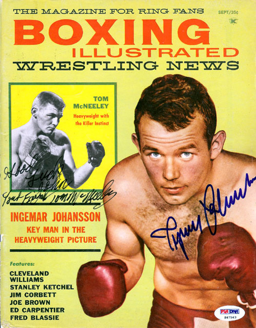 """Ingemar Johansson & Tom McNeeley Autographed Boxing Illustrated Magazine Cover """"To John"""" PSA/DNA #S47543"""