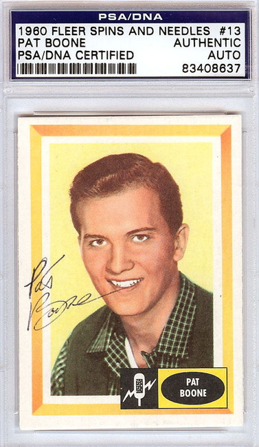Pat Boone Autographed 1960 Fleer Spins & Needles Card #13 PSA/DNA #83408637