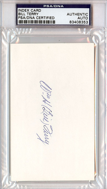 William Bill Terry Autographed 3x5 Index Card PSA/DNA #83408353