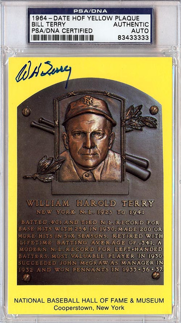 William Bill Terry Autographed HOF Plaque Postcard PSA/DNA #83433333