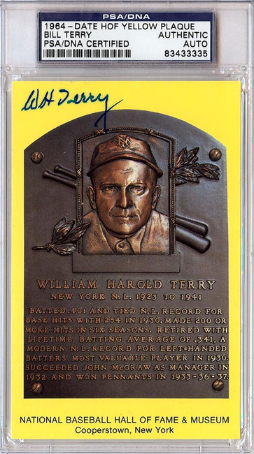 William Bill Terry Autographed HOF Plaque Postcard PSA/DNA #83433335