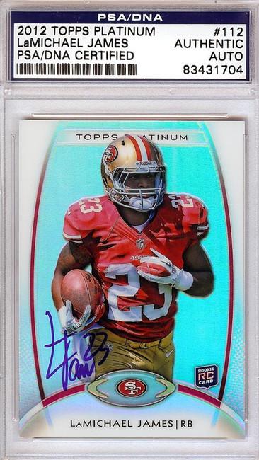 LaMichael James Autographed 2012 Topps Platinum Rookie Card #112 San Francisco 49ers PSA/DNA #83431704