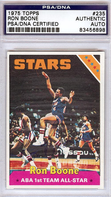 Ron Boone Autographed 1975 Topps Card #235 Utah Stars PSA/DNA #83456898