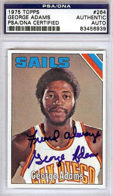 George Adams Autographed 1975 Topps Card #264 San Diego Sails PSA/DNA #83456939