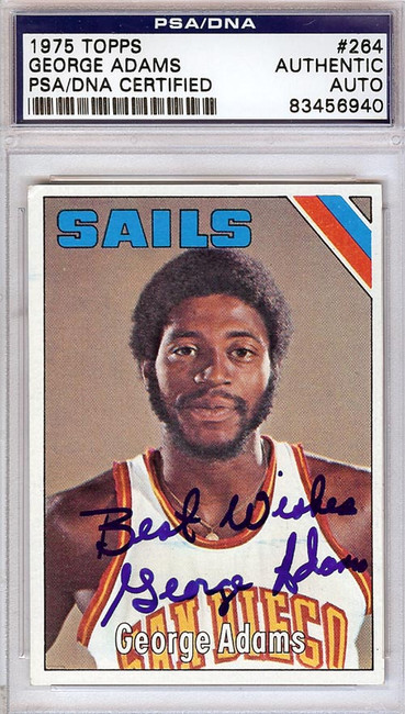 George Adams Autographed 1975 Topps Card #264 San Diego Sails PSA/DNA #83456940