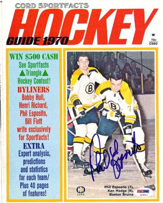Phil Esposito Autographed Hockey Magazine Cover Boston Bruins PSA/DNA #U93814