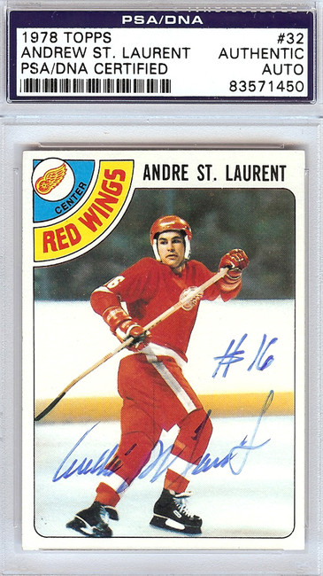 Andre St. Laurent Autographed 1978 Topps Card #32 Detroit Red Wings PSA/DNA #83571450