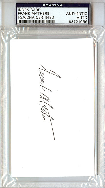 Frank Mathers Autographed 3x5 Index Card Hershey Bears, Toronto Maple Leafs PSA/DNA #83721056
