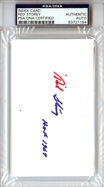 Red Storey Autographed 3x5 Index Card PSA/DNA #83721184