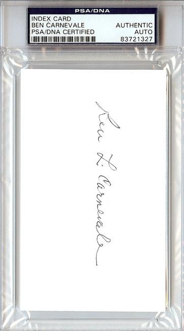 Ben Carnevale Autographed 3x5 Index Card PSA/DNA #83721327