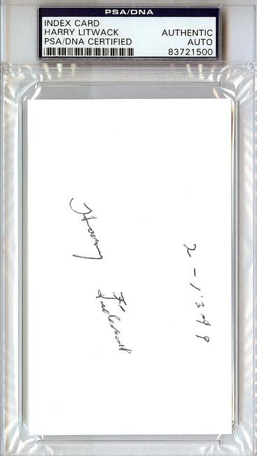 Harry Litwack Autographed 3x5 Index Card Temple Owls Coach PSA/DNA #83721500