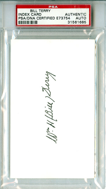 Bill Terry Autographed 3x5 Index Card PSA/DNA #31561685