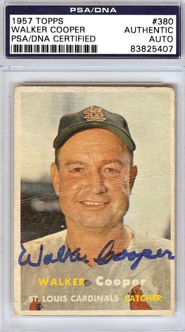 Walker Cooper Autographed 1957 Topps Card #380 St. Louis Cardinals PSA/DNA #83825407