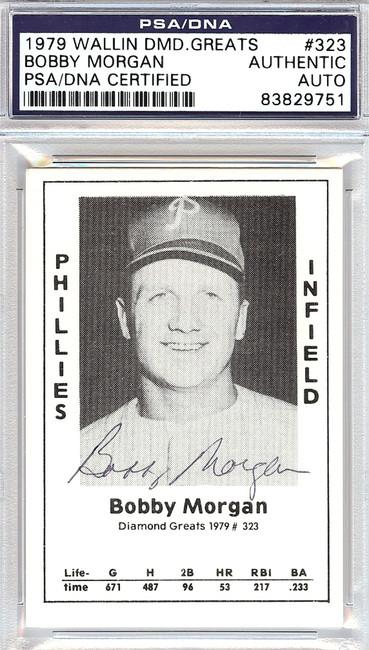 Bobby Morgan Autographed 1979 Diamond Greats Card #323 Phillies PSA/DNA #83829751