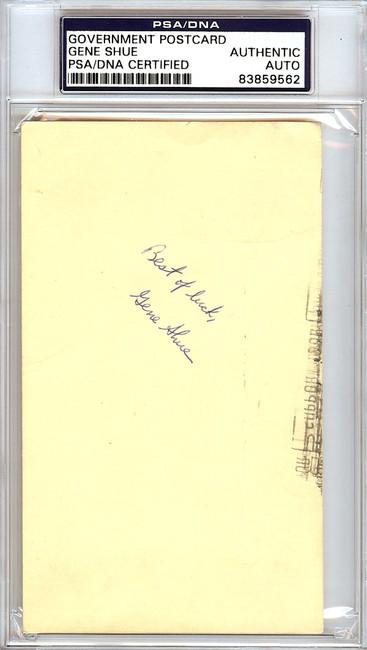 Gene Shue Autographed 3x5 Government Postcard PSA/DNA #83859562