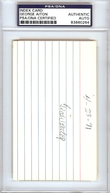 George Bill Aiton Autographed 3x5 Index Card 1912 St. Louis Browns PSA/DNA #83860264