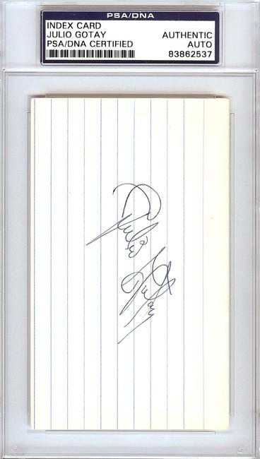 Julio Gotay Autographed 3x5 Index Card St. Louis Cardinals, Pittsburgh Pirates PSA/DNA #83862537