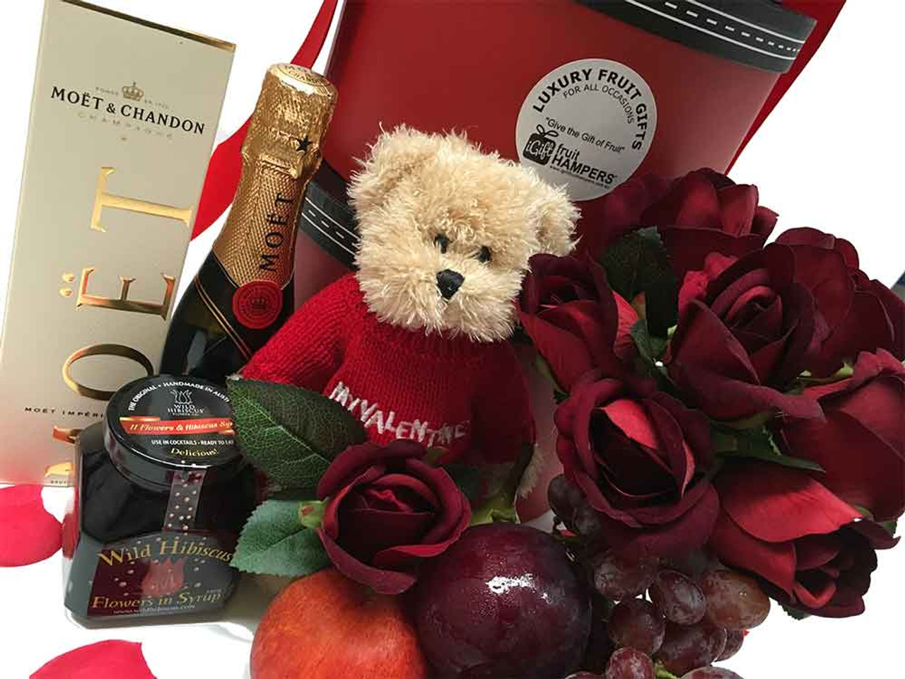 Luxury Gift Hamper Round Tower Moet Gift With Silk Red Roses Only 169