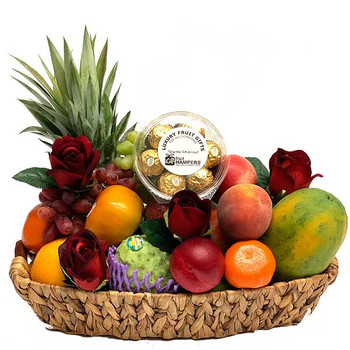 Fruit Basket + Ferrero Chocolates + Red Silk Roses - Free Delivery