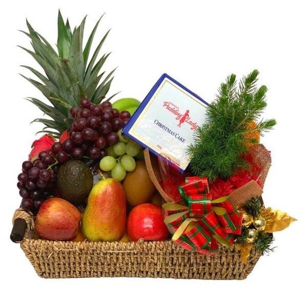Fruit Basket with Christmas Cake and Tree