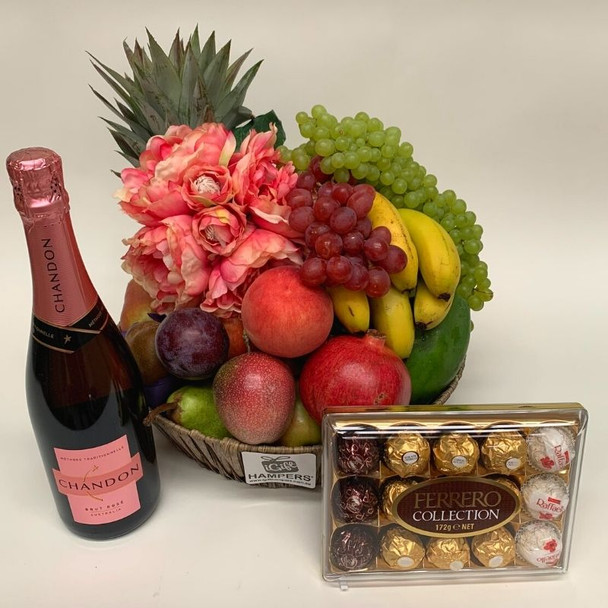 Fruit Basket | Peony Dusty Pink Silk Flowers + Chocolates + Chandon Rose
