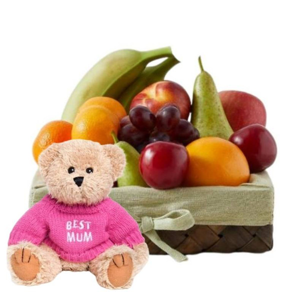 Mothers Day Basket + Message Bear