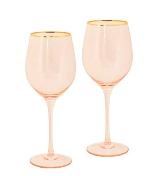 Cristina Re Rose Crystal Wine Glasses Set of 2