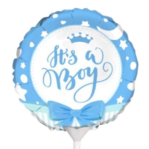 """Foil Balloon 9"""" (22.5cm Dia) Baby Boy"""