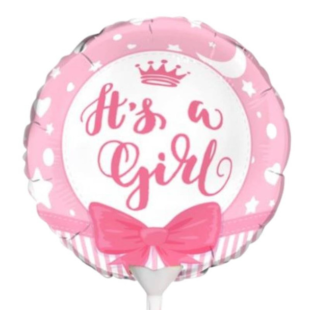 """Foil Balloon 9"""" (22.5cm Dia) Baby Girl"""