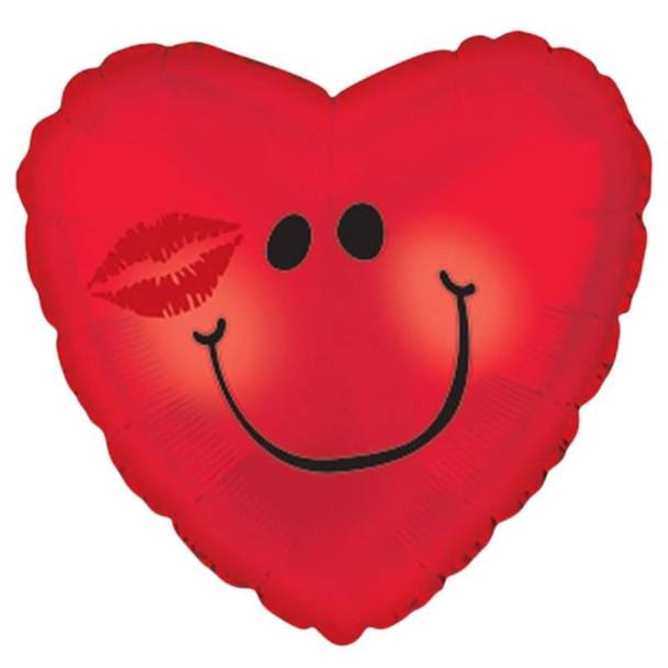 """Foil Balloon 9"""" (22.5cm Dia) Red Heart"""