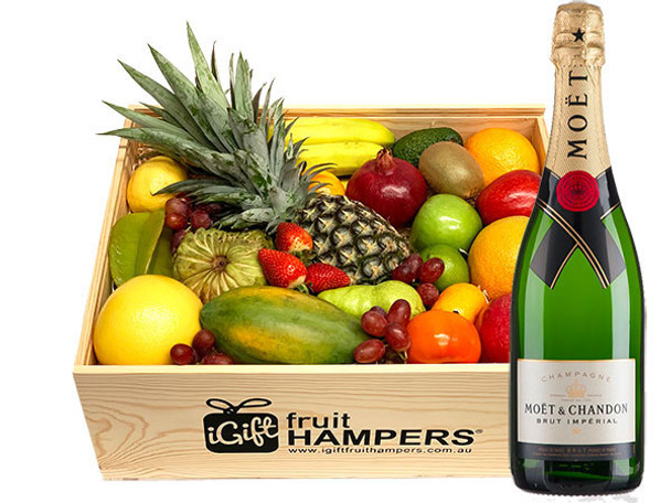 Champagne Gift Hamper with Moet and Fruit