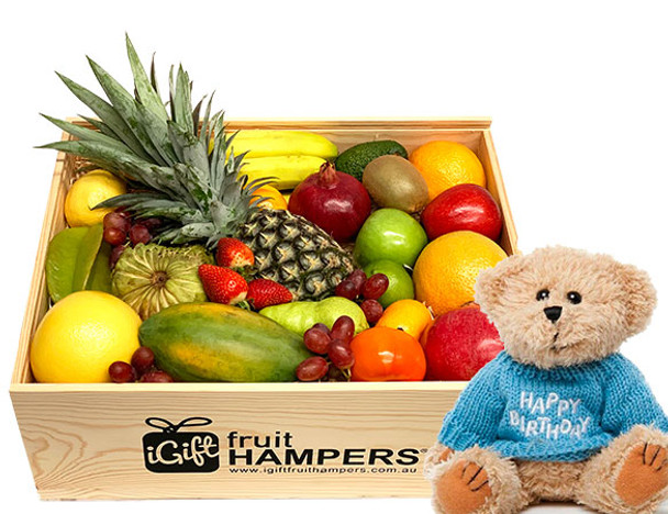 Happy Birthday Gift Hamper with Blue Message Bear