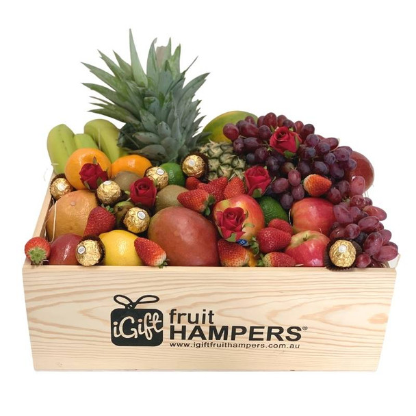 Fruit Hamper with Silk Red Roses and Ferrero Chocolates