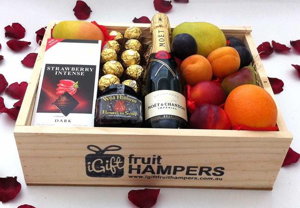 Gift Hamper Moet Gourmet Fruit Box with Chocolates + Wild Hibiscus Flowers
