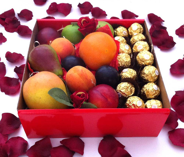 Fruit Chocolate Hamper with Silk Red Roses