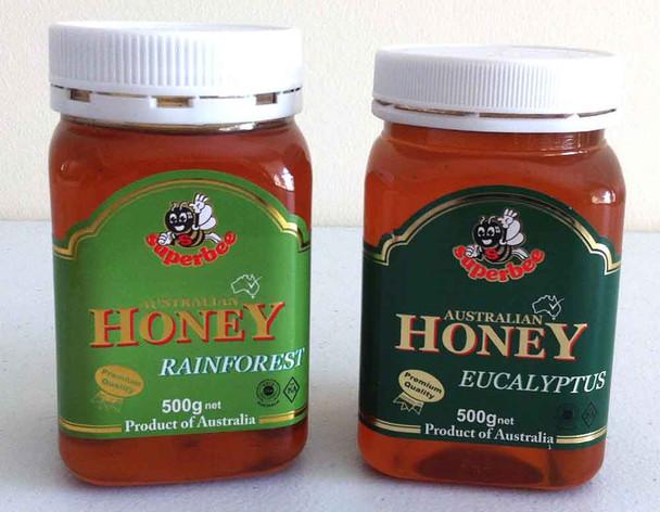 Australian Rainforest Honey 500g + Australian Eucalyptus Honey 500g
