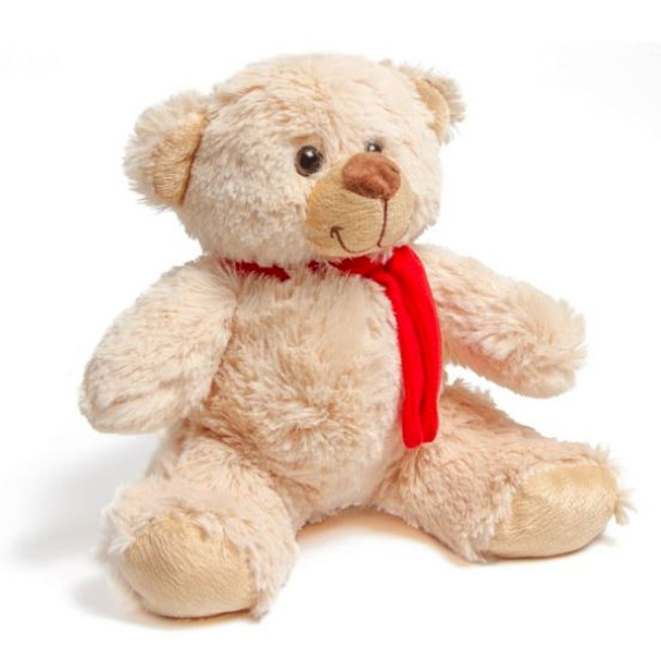 Beige Troy Carter Teddy Bear with Red Scarf