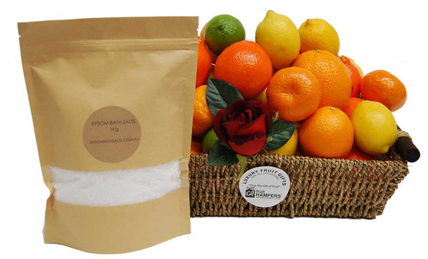 Fruit Basket Flu Buster Citrus + 1Kg Epsom Bath Salts