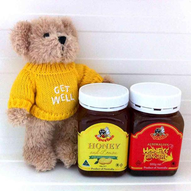 Get Well Pack - Get Well Message Bear + Honey & Lemon 500g + Honey & Ginger 500g