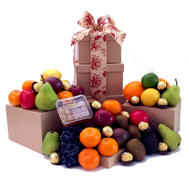 Fruit Tower Gift with Raw Honey + Ferrero Chocolate - Free Shipping