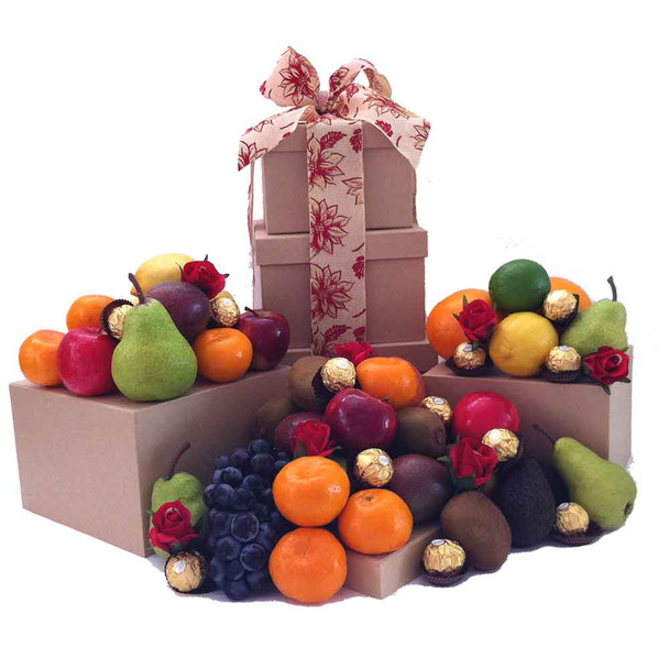 Fruit Hamper Tower Gift + Chocolate + Red Roses - Free Shipping