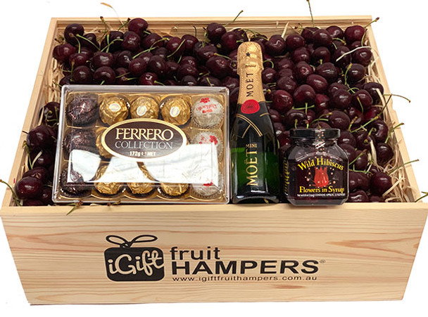 Cherry Christmas Hamper and Champagne, chocolate and Hibiscus
