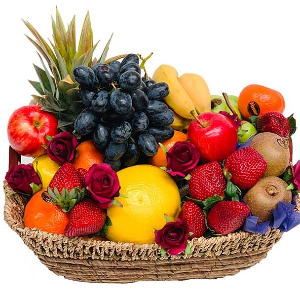 Red Roses Fruit Basket - Only Online