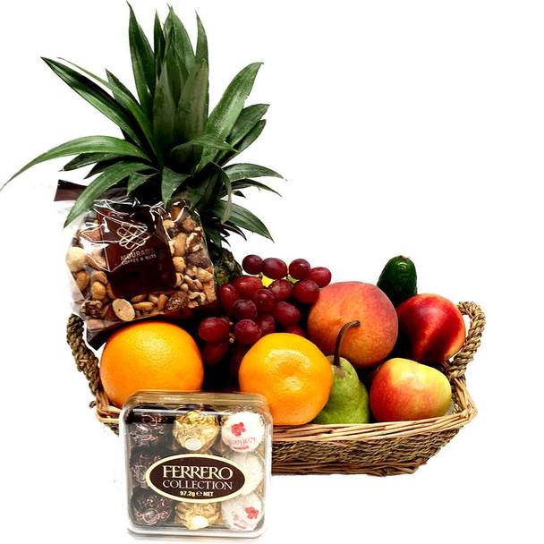 Small Fruit Basket + Chocolates + Gourmet Mixed Nuts